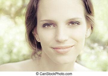 portré, nő, gyönyörű