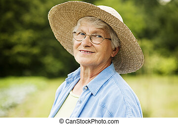 portré, nő, idősebb ember