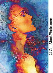 portré, nő, képzelet
