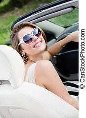 portré, nő, meglehetősen, autó