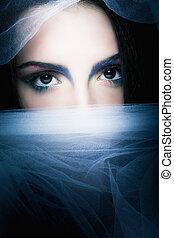 portré, nő, titokzatos