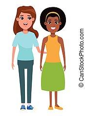portré, nők, betű, karikatúra, avatar