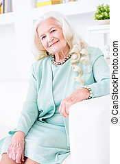 portré, nagyanyó, boldog
