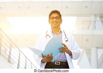 portré, orvosi, indiai, orvos