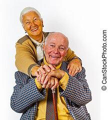 portré, párosít, idősebb ember, öregedő, boldog