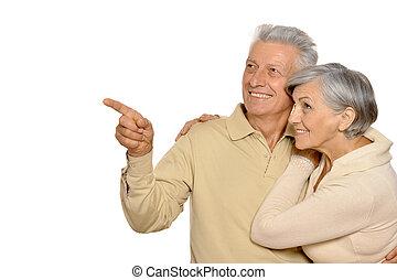 portré, párosít, idősebb ember, boldog