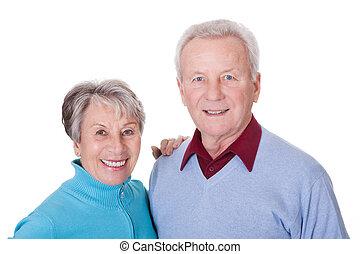 portré, senior összekapcsol, boldog