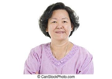 portré, senior woman, felnőtt