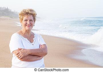 portré, senior woman, tengerpart