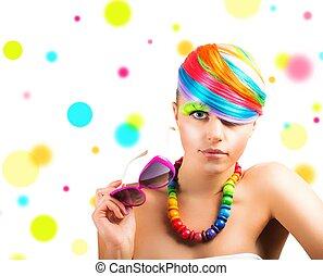 portré, szépség, mód, colorfull