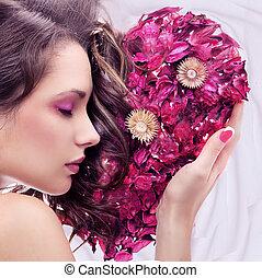 portré, szív, fiatal, szépség, rózsa