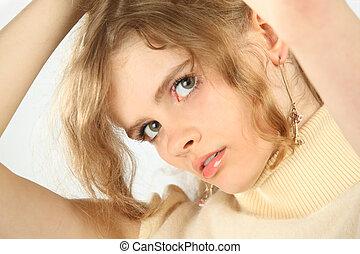 portré, szőke, closeup, fiatal