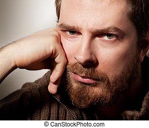 portré, szakállas, jelentékeny, csendes, ember