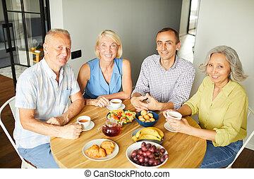 portré, tea, idősebb ember, ivás, emberek