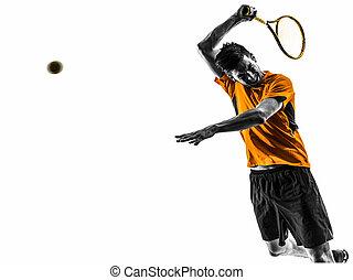 portré, tenisz, árnykép, ember, játékos