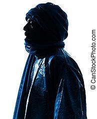 portré, tuareg, árnykép, ember