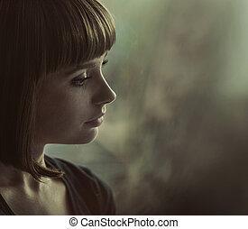 portrét, bruneta, dáma, nostalgický