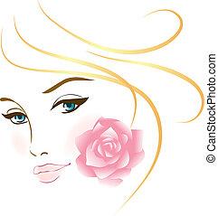 portrét, děvče, kráska, čelit