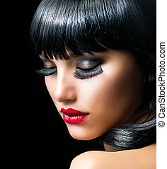 portrét, děvče, móda, bruneta, detail