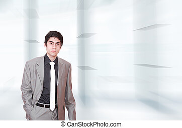 portrét, o, jeden, člověk obchodního ducha