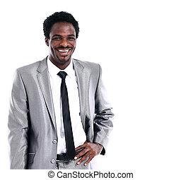portrét, o, jeden, šťastný, mládě, afričan američanka, člověk obchodního ducha, oproti neposkvrněný