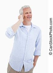 portrét, o, jeden, šťastný, stát se splatným voják, pouití, jeho, pohyblivý telefonovat