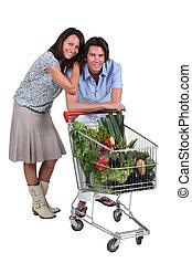portrét, o, jeden, dvojice, s, shopping vozík