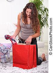 portrét, o, jeden, manželka, s, nákupní taška