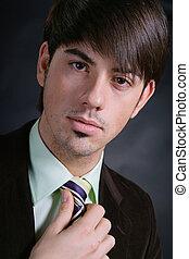 portrét, o, jeden, mládě, člověk obchodního ducha