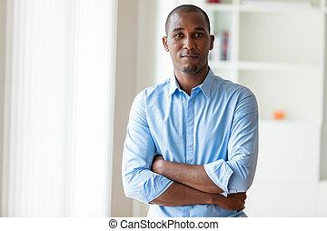 portrét, o, jeden, mládě, afričan američanka, člověk obchodního ducha, -, čerň, národ