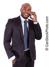 portrét, o, jeden, mládě, afričan američanka, člověk obchodního ducha, rozeznat telefonovat stavit se, osamocený, oproti neposkvrněný, grafické pozadí