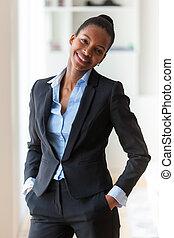 portrét, o, jeden, mládě, afričan američanka, business eny, -, čerň, peop