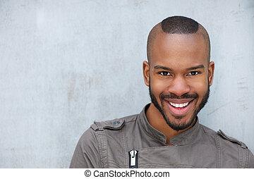 portrét, o, jeden, moderní, mládě, afričan američanka voják