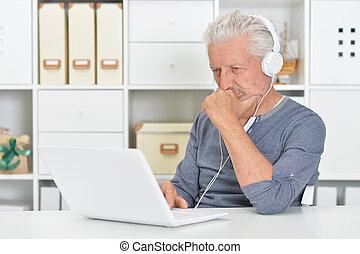 portrét, o, jeden, představený voják, pouití počítač na klín, doma