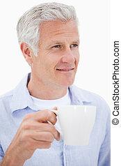 portrét, o, jeden, stát se splatným voják, vypít čaj