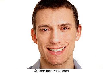 portrét, o, jeden, usmívaní, mladík
