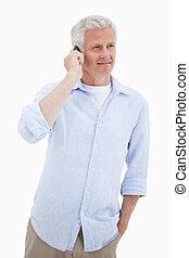 portrét, o, jeden, usmívaní, stát se splatným voják, pouití, jeho, pohyblivý telefonovat
