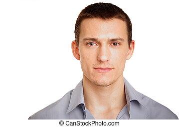 portrét, o, mladík, v, košile