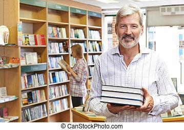 portrét, o, mužský, knihkupectví, vlastník, s, zákazník, do, grafické pozadí