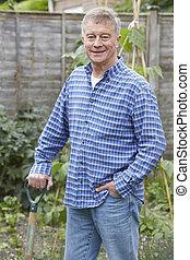portrét, o, představený voják, zahradničení, doma