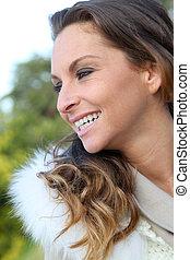 portrét, o, překrásný, úsměv eny