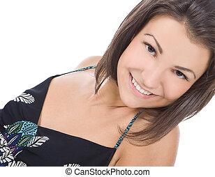 portrét, o, překrásný, bruneta, eny úsměv
