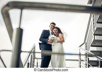 portrét, o, překrásný, nevěsta i kdy pacholek, objetí, dále, schodiště