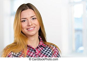 portrét, o, zdařilý úsměv, mládě, překrásný eny
