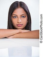 portrét, překrásný, asijský, indián, eny sluka