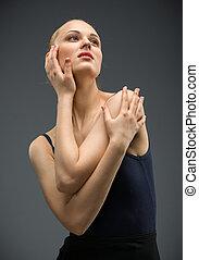 portrét, polodlouhý, tančení, balerína