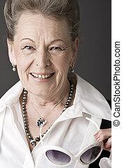 portrét, starší, móda, dáma