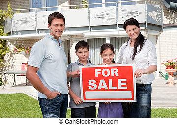 portrét, ubytovat se, prodejní, rodina, jejich