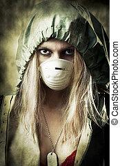 portrair, de, mulher triste, em, máscara respirando