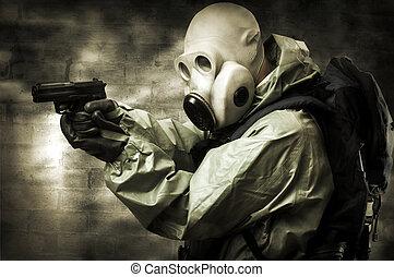 portrair, i, person, ind, gas masker